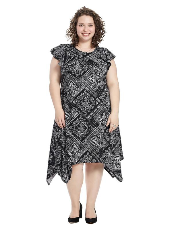 Flutter Sleeve Dress In Black Handkerchief Print