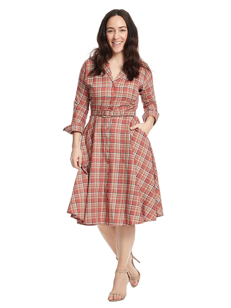 Rose Plaid Brooklyn Dress