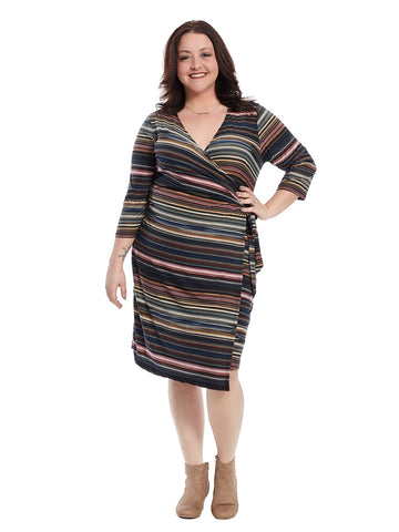 Wrap Dress In Multi Stripe Print