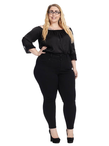 High Rise Pencil Jean In Black Rinse