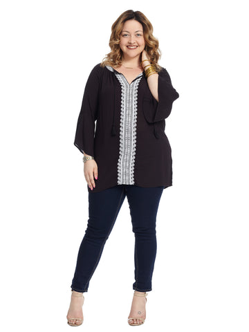 Flare Sleeve Embroidered Black Tunic