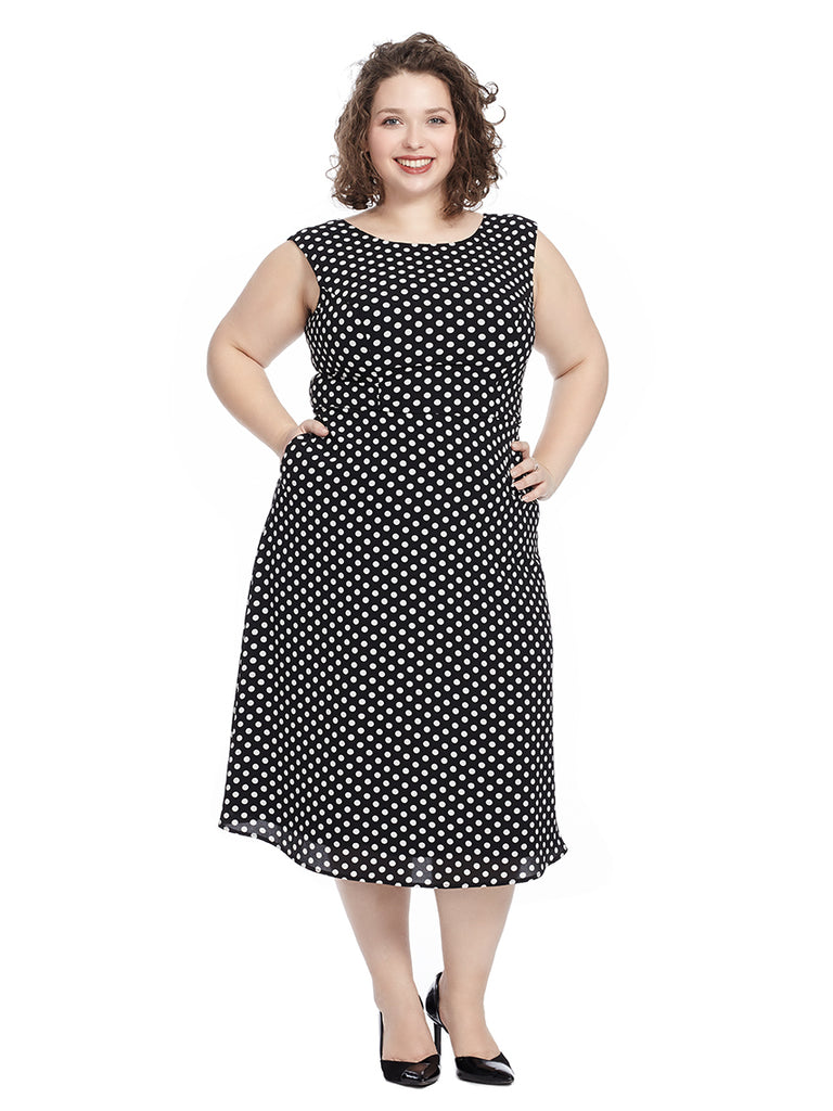 Kathryn Dress In Black And Cream Polka Dot