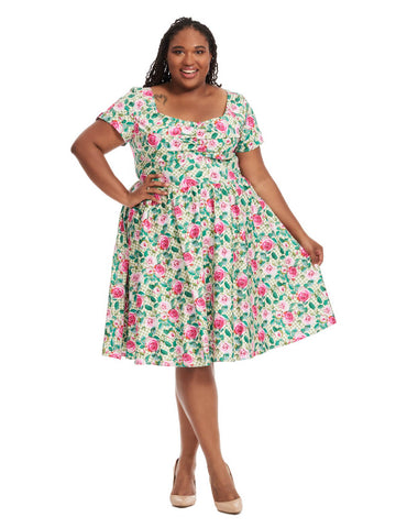 Draper Dress In Green Floral Print