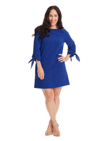 Violet Shift Dress With Tie Sleeves