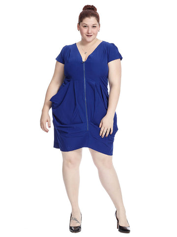 Zip Front Tunic Dress In Imperial Blue