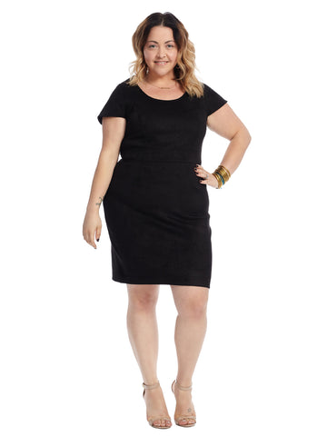 Black Faux Suede Sheath Dress