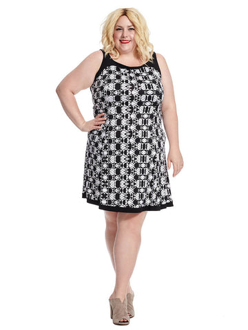Abstract Geo Fit And Flare Dress