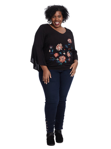 Long Sleeve V-Neck Top With Floral Print In Black