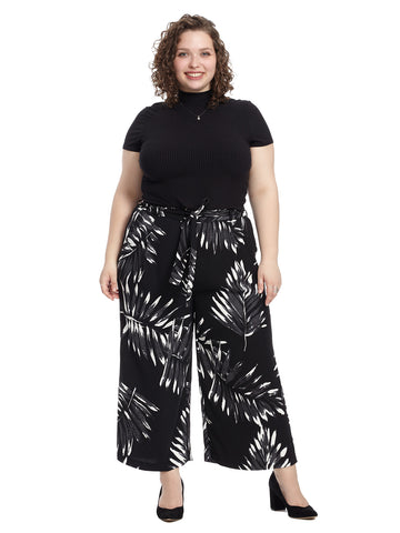 Black And White Palm Print Carver Pants