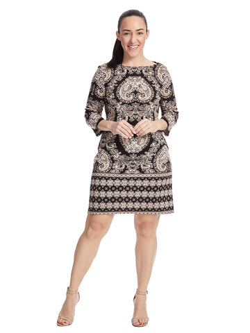 Three-Quarter Sleeve Border Print Shift Dress