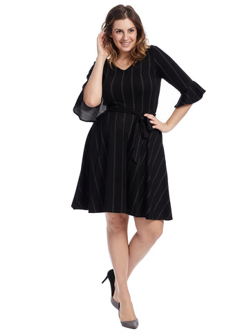 Flounce Sleeve Stripe Illana Dress