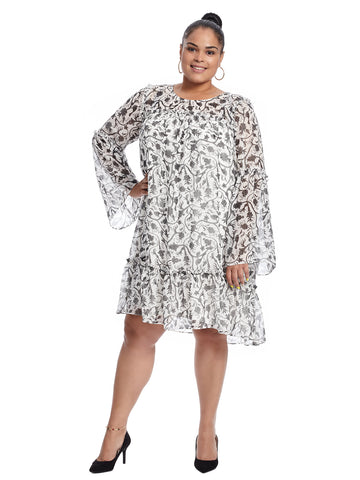 Bell Sleeve Ivory Cloud Dress