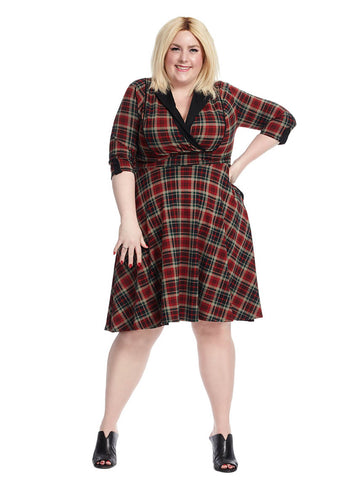 Three-Quarter Sleeve V-Neck Trudy Dress In Plaid