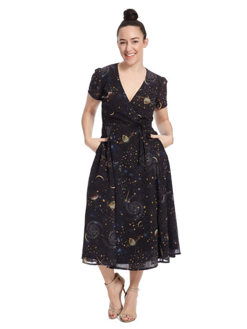Short Sleeve Wrap Dress In Constellation Print