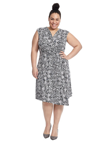 Faux Wrap Dress With Knot Detail In Navy Sketchyard