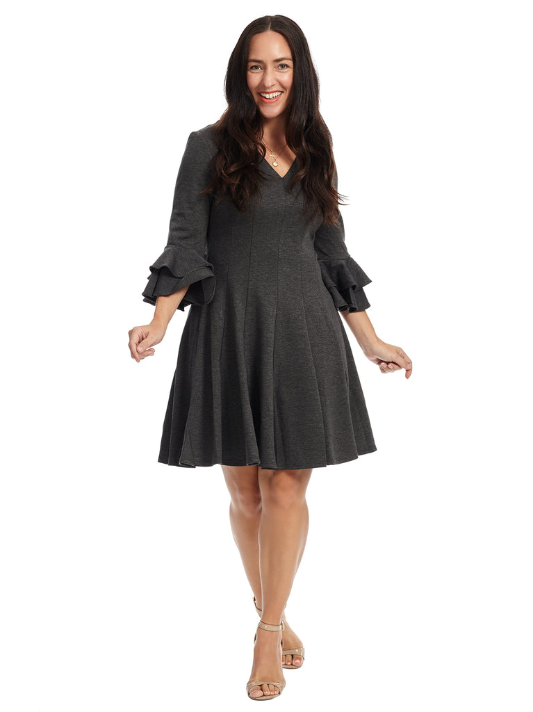 Ruffle Sleeve Grey Fit And Flare Dress