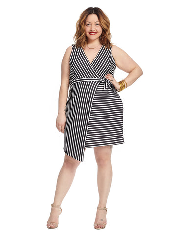 Sleeveless Black and White Stripe True Wrap Dress