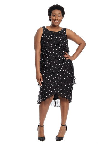Layered Black and Pink Polka Dot Print Dress