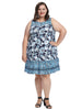 Sleeveless Malewa Floral Border Cerulean Shimmer Dress