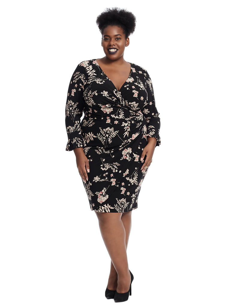 Fallon Bell Sleeve Floral Print Dress