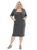 Elbow-Length Sleeve Dress In Charcoal Grey