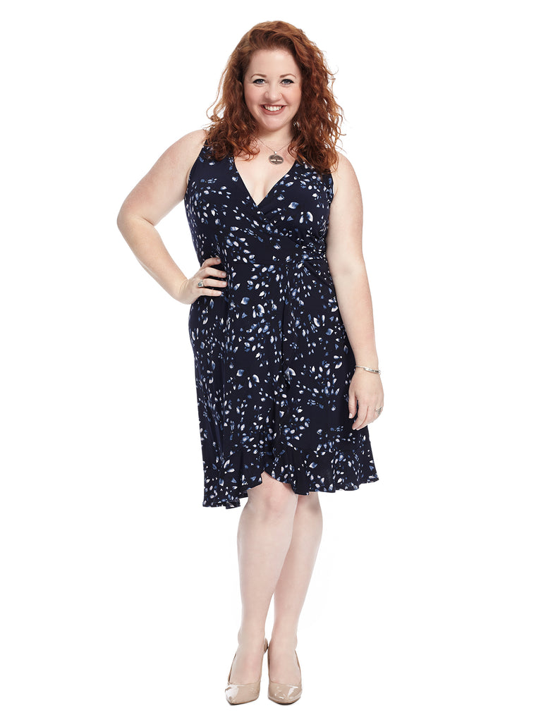 Navy Petal Print True Wrap Dress