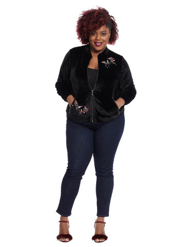 Velvet Bomber Jacket With Floral Embroidery In Black