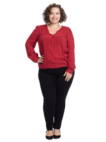 Ruffled V-Neck Crimson Blouse
