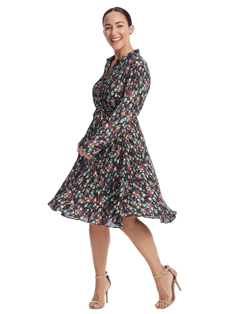 Floral Pleated Pintuck Shirt Dress