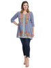 Border Embroidery Blue Tunic