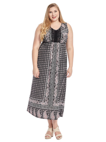 Sleeveless Paisley Maxi Dress