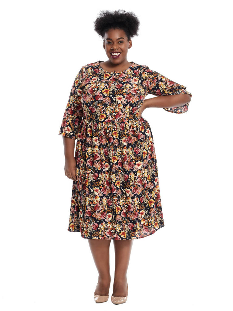 Three-Quarter Sleeve Dress In Ivory Rust Floral Print