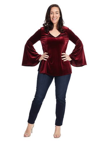 Stretch Velvet Bell Sleeve V-Neck Top