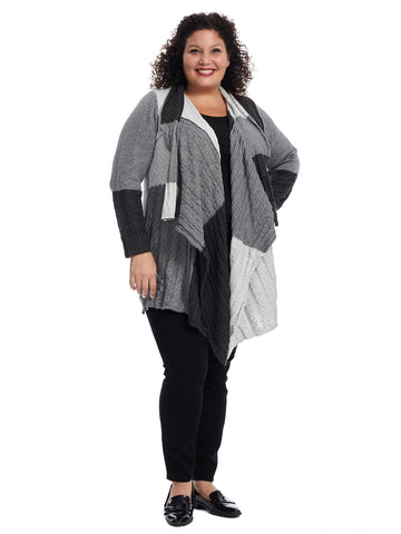 Colorblock Grey Waterfall Cardigan