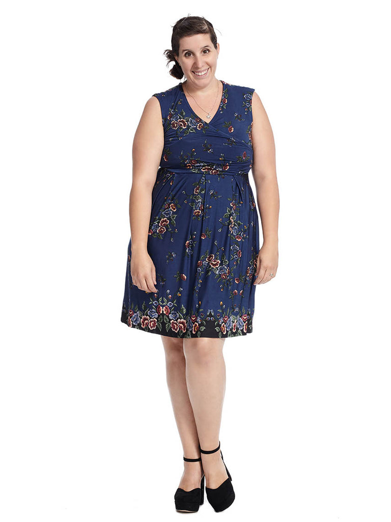 V-neck Faux Wrap Dress In Navy Floral Print