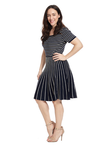 Mixed Stripe Fit And Flare Sweater Dress
