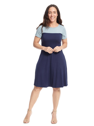 Navy And Chambray Fit And Flare Dress