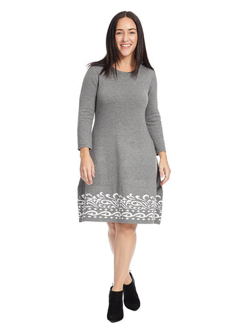 Border Print Sweater Dress In Gray