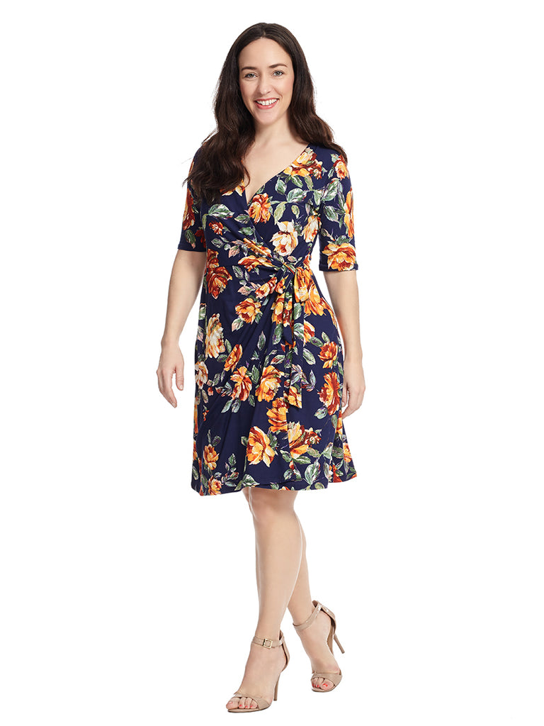 Faux Wrap Dress In Navy Floral Print