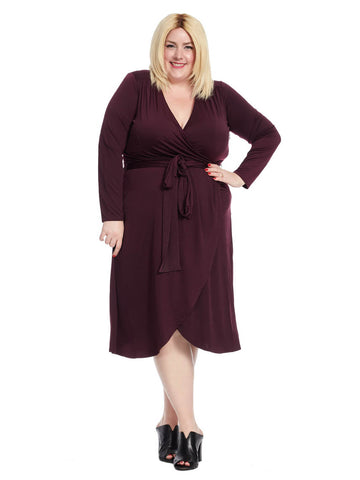 Jersey Wrap Dress In Plum