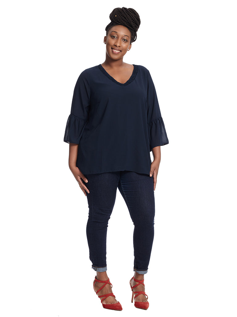 Bell Sleeve Tunic With Neck Trim Detail In Navy
