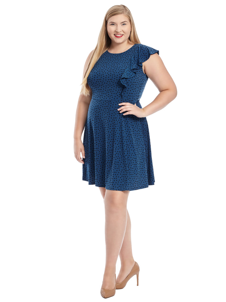 Side Ruffle Polka Dot Adrianna Dress