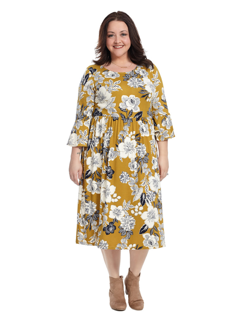 Bell Sleeve Fit And Flare Dress In Mustard Multi Floral