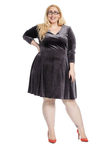 Fit And Flare Dress In Steel Velvet