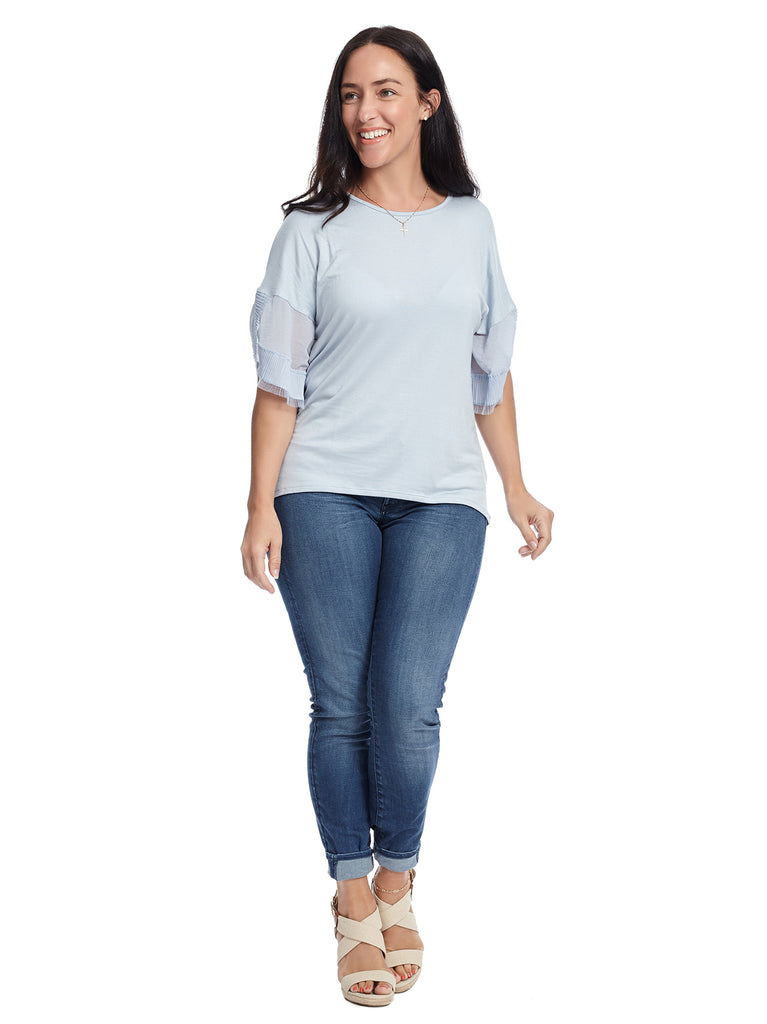 Dolman Ruffle Sleeve Light Blue Top