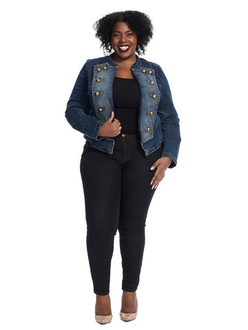 Denim Military Style Jacket