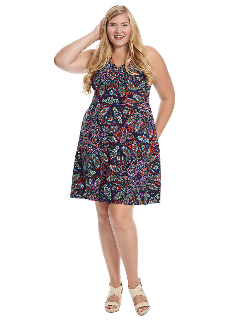 V-Neck Paisley Fit And Flare Dress