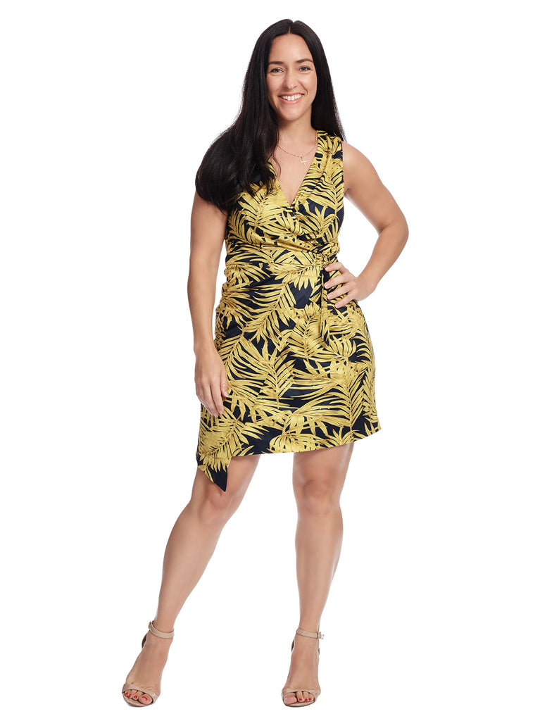 Navy Tropical Leaf Print Wrap Dress