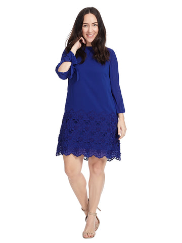 Georgette Long Sleeve Shift Dress In Blue Violet
