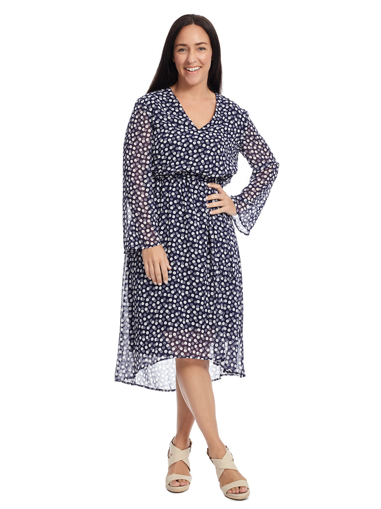 Tie Neck Dot Print Fit And Flare Dress
